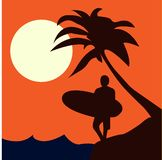 Persona que practica surf en la playa con la palmera en imagen del vector del fondo de la puesta del sol ilustración del vector