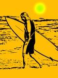 Persona que practica surf en la puesta del sol stock de ilustración