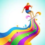 Persona que practica surf en onda colorida stock de ilustración