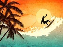 Persona que practica surf, palmas y mar Imágenes de archivo libres de regalías