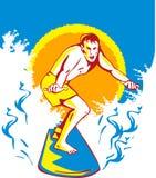 Persona que practica surf que practica surf la onda grande foto de archivo