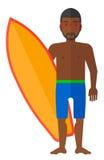 Persona que practica surf que sostiene la tabla hawaiana Imágenes de archivo libres de regalías