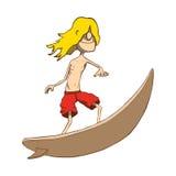 Persona que practica surf rubia flaca divertida. Vector dibujado mano stock de ilustración