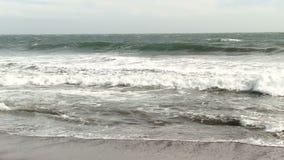 Persona que practica surf que se bate hacia fuera en las olas oceánicas Marin California metrajes