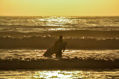 Persona que practica surf solitaria Fotografía de archivo libre de regalías