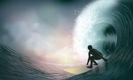 Persona que practica surf y onda Imágenes de archivo libres de regalías