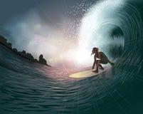 Persona que practica surf y onda Imagen de archivo