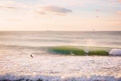Persona que practica surf y onda grande perfecta del barril Paisaje marino con colores de la salida del sol Imágenes de archivo libres de regalías