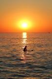 Persona que practica surf y puesta del sol Fotos de archivo