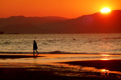Persona sin llamar en la playa Fotos de archivo