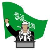 Persona su una tribuna contro una bandiera dell'Arabia Saudita Immagine Stock