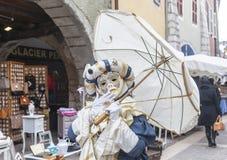 Persona travestita - carnevale veneziano 2013 di Annecy Immagini Stock Libere da Diritti