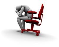 Persona triste che si siede sulla presidenza dell'ufficio Fotografia Stock Libera da Diritti