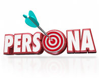 Persona Word Arrow Target Customer Buyer Psychology Profile. Persona word in red 3d letters and arrow in bullseye to illustrate buyer or customer psychology Stock Photo