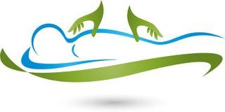 Persona y dos manos, masaje y logotipo naturopathic Imágenes de archivo libres de regalías