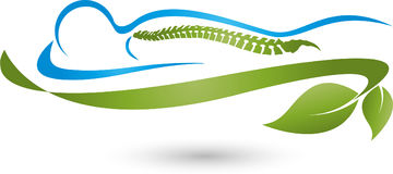 Persona y hojas, planta, masaje y logotipo ortopédico Imagen de archivo libre de regalías