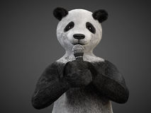 Personage character animal bear panda sing song microphone Royalty Free Stock Photo