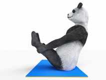 Exercising Panda. Panda bear sitting on blue sports mat in stretching exercise pose on white background Royalty Free Stock Photo