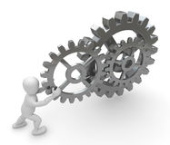 Personage with gears. 3d image, pushing personage gears Stock Photo