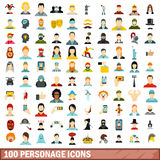 100 personage icons set, flat style. 100 personage icons set in flat style for any design vector illustration royalty free illustration
