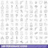 100 personage icons set, outline style. 100 personage icons set in outline style for any design vector illustration Royalty Free Illustration