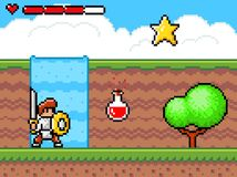 Free Personage Or Character Of Pixel Game, Knight Wearing Armor With Sword Near Poison, Star Bonus Stock Photo - 192672600