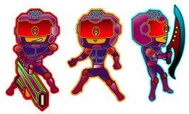 Personagem de banda desenhada ajustado da polícia futurista do robô ilustração stock