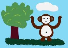 Personagem de banda desenhada bonito do macaco Imagem de Stock Royalty Free