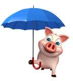 personagem de banda desenhada bonito do porco com guarda-chuva ilustração stock