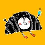 Personagem de banda desenhada cômico agradável do croissant Fotos de Stock Royalty Free