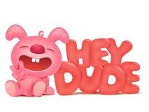 Personagem de banda desenhada cor-de-rosa de assento do coelho com hey título do gajo ilustração royalty free