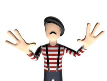 Personagem de banda desenhada 3D francês receoso Imagens de Stock
