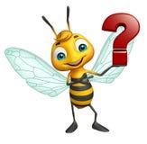 personagem de banda desenhada da abelha do divertimento com sinal do ponto de interrogação Foto de Stock Royalty Free