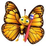 personagem de banda desenhada da borboleta do divertimento com escova de dentes Imagens de Stock