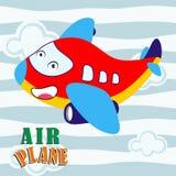 Personagem de banda desenhada da educação do plano de ar, a engraçada e a bonito do fundo Fotos de Stock Royalty Free