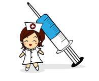 Personagem de banda desenhada da enfermeira e da seringa Fotografia de Stock