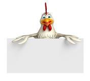 personagem de banda desenhada da galinha do divertimento com placa Foto de Stock Royalty Free
