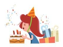 Personagem de banda desenhada da ilustração da moça do feliz aniversario ilustração stock