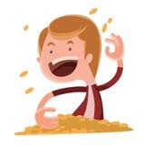 Personagem de banda desenhada de jogo da ilustração das moedas de ouro ilustração stock