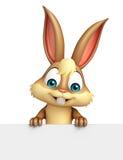 Personagem de banda desenhada do coelho do divertimento com placa branca Imagem de Stock Royalty Free