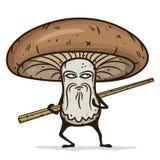 Personagem de banda desenhada do cogumelo de Shiitake com hashis de madeira Imagens de Stock