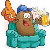 Personagem de banda desenhada do fã de esportes do viciado em televisão Fotos de Stock Royalty Free