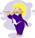 Personagem de banda desenhada do flautista do menino da ilustração Foto de Stock Royalty Free