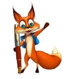 Personagem de banda desenhada do Fox do divertimento com saco e pena de escola Imagem de Stock