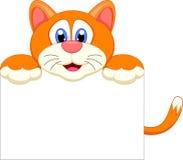 Personagem de banda desenhada do gato com sinal do bankg Imagens de Stock