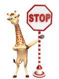 Personagem de banda desenhada do girafa do divertimento com sinal da parada ilustração do vetor