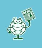 Personagem de banda desenhada do globo com a notícia à disposição Imagens de Stock