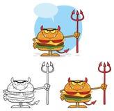 Personagem de banda desenhada do hamburguer do diabo que guarda Trident Jogo da coleção ilustração stock