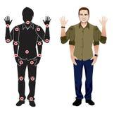 Personagem de banda desenhada do homem novo na camisa formal, boneca pronta do vetor da animação com junções separadas gestos Fotos de Stock