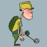 Personagem de banda desenhada do homem que anda com um detector de metais Foto de Stock Royalty Free